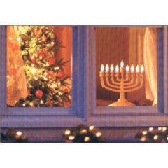 menorah and xmas tree