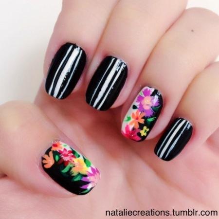 spring flower manicure