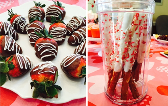 Chocolate covered pretzels and strawberries